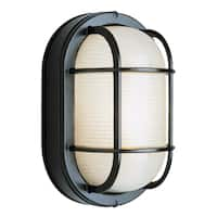 "Bel Air Lighting CB-41005-BK 8-1/2"" Black Oval Bulkhead Outdoor Fixture"