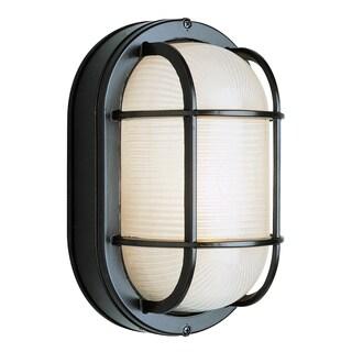 "Bel Air Lighting CB-41005-BK 8-1/2"" Black Oval Bulkhead Outdoor Fixture"
