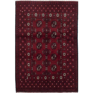 ecarpetgallery Hand-knotted Khal Mohammadi Red and Black Wool Rug (3'4 x 4'9)