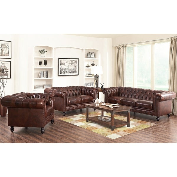 shop abbyson grand chesterfield brown top grain leather 3 piece living room set on sale free. Black Bedroom Furniture Sets. Home Design Ideas