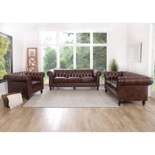 abbyson grand chesterfield brown top grain leather 3 piece living room set - Living Room Set Deals