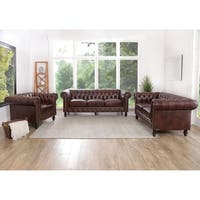 Abbyson Grand Chesterfield Brown Top Grain Leather 3 Piece Living Room Set