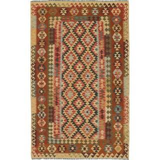 eCarpetGallery Handmade Anatolian Beige/Brown Wool Kilim (4'8 x 7'10)
