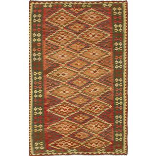 eCarpetGallery Handmade Beige/Red Anatolian Kilim Wool Rug (5' x 8'5)