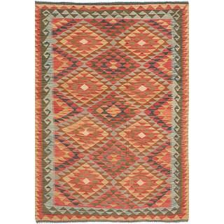ecarpetgallery Handmade Anatolian Red Wool Kilim Rug (4'9 x 6'10)