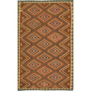 ecarpetgallery Handmade Anatolian Green and Red Wool Kilim Rug (5' x 8'1)