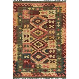 ecarpetgallery Green Handmade Anatolian Kilim Wool Kilim (3'4 x 4'11)