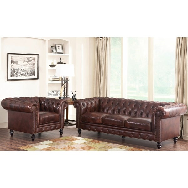 Abbyson Grand Chesterfield Brown Top Grain Leather 2 Piece Living Room Set Free Shipping Today