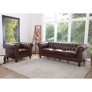 Abbyson Living Grand Chesterfield Brown Leather Sofa and Armchair
