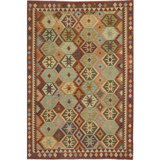 ecarpetgallery Handmade Anatolian Blue and Red Wool Kilim Rug (6'2 x 9'7)