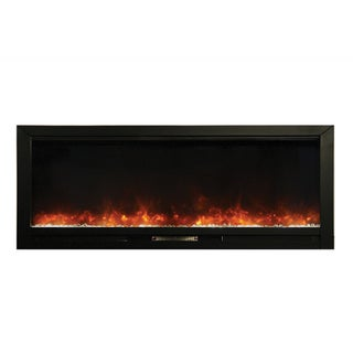 Knock Out Black Finish Built-in Electric Fireplace with Crystal Flame Enhancers