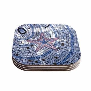 Kess InHouse Debbra Obertanec 'Mosaic Starfish' Nautical Blue Coasters (Set of 4)