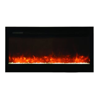 Bruiser Electric Built-in Fireplace With Log or Coal Flame Enhancers Wall Mounted Electric Fireplace