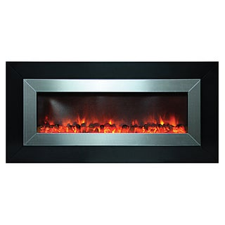 Y-Decor Black Finish Stunner Electric Fireplace with Stainless Steel Accents