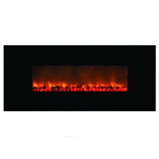 Mood Setter Black Finish Wall-mounted Electric Fireplace Realistic Flames and Crackling Logs