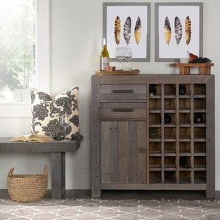 Kosas Home Reclaimed Pine Handcrafted Oscar Distressed Charcoal Recovered Shipping Pallets Wine Cabinet
