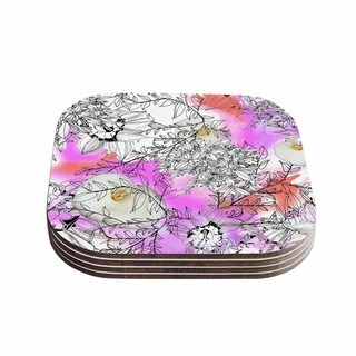 Kess InHouse Danii Pollehn 'Flowerlights' Pink White Coasters (Set of 4)