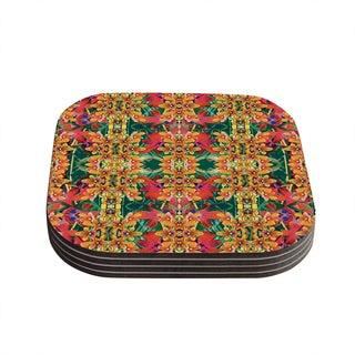 Kess InHouse Dawid Roc 'Tropical Floral' Orange Pink Coasters (Set of 4)