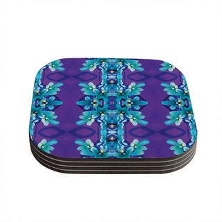 Kess InHouse Dawid Roc 'Blue Orchids' Teal Floral Coasters (Set of 4)
