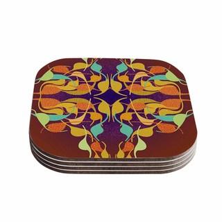 Kess InHouse Dan Sekanwagi 'Purple Feast' Orange Abstract Coasters (Set of 4)