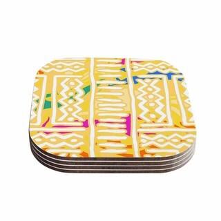Kess InHouse Dan Sekanwagi 'Lines And Zigzags - Colorful' Yellow Tribal Coasters (Set of 4)