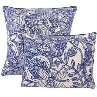Valentina Flowers and Doodles Blue and White Polyester Decorative Pillows (Set of 2)