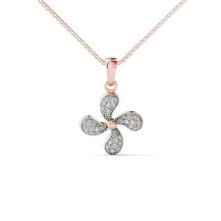 AALILLY 10k Rose Gold 1/10ct TDW Diamond Propeller Pendant Necklace