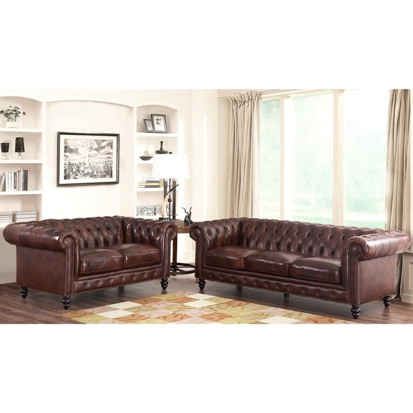 Shop abbyson grand chesterfield brown top grain leather 2 piece living room set on sale free 2 piece leather living room set