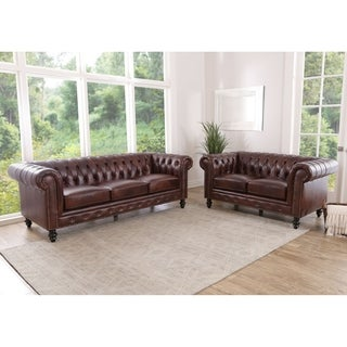 Abbyson Grand Chesterfield Brown Leather Sofa and Loveseat