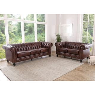 Abbyson Grand Chesterfield Brown Top Grain Leather 2 Piece Living Room Set|https://ak1.ostkcdn.com/images/products/11807317/P18715496.jpg?impolicy=medium