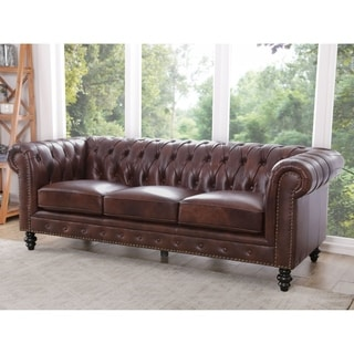 Abbyson Grand Chesterfield Brown Top Grain Leather Sofa