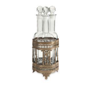 Pearson Bottles in Brass Tray - Set of 4