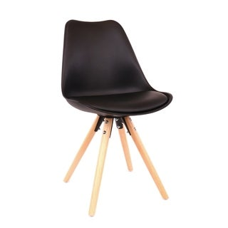 Viborg Black Mid Century Side Chair with Natural Base (Set of 2)