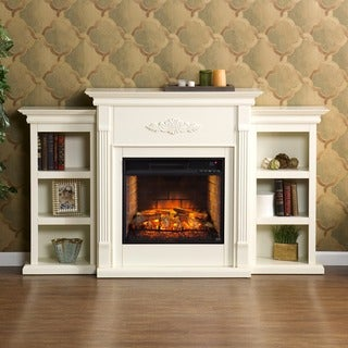 Harper Blvd Tomlin Ivory Bookcase Infrared Electric Fireplace