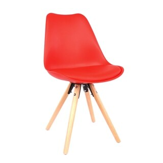 Viborg Red Mid Century Side Chair Natural Base (Set of 2)