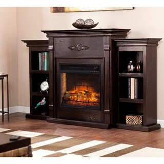 Gracewood Hollow Carlo Classic Espresso Bookcase Infrared Electric Fireplace