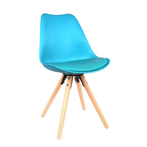 Viborg Blue Mid Century Side Chair Natural Base (Set of 2)