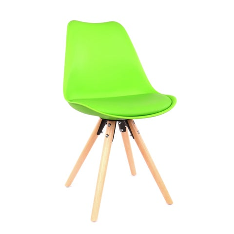 Viborg Green Mid Century Side Chair Natural Base (Set of 2)