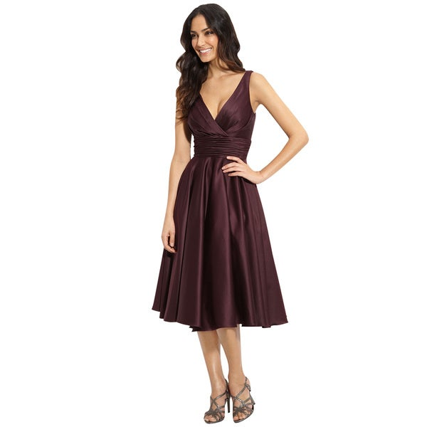 a44b7307838 Shop ML Monique Lhuillier Bridesmaids Aubergine Satin Cocktail Dress ...