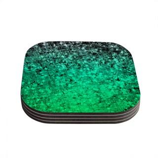 Kess InHouse Ebi Emporium 'Romance Me Green' Teal Glitter Coasters (Set of 4)
