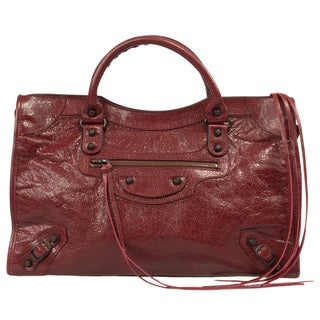 Balenciaga Classic City Rouge Cerise Medium Leather Satchel Handbag