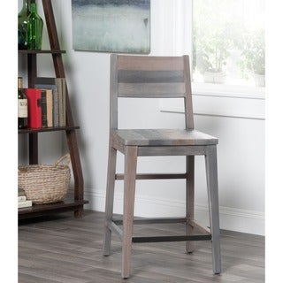 Kosas Home Oscar Handcrafted Rustic Charcoal Recovered Shipping Pallets Counter Stool