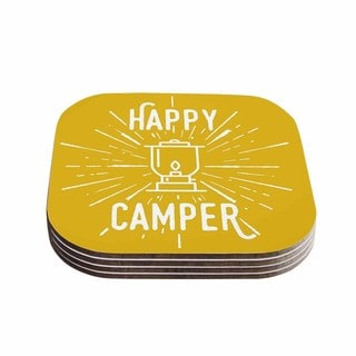Kess InHouse Jackie Rose 'Happy Camper' Yellow Typography Coasters (Set of 4)