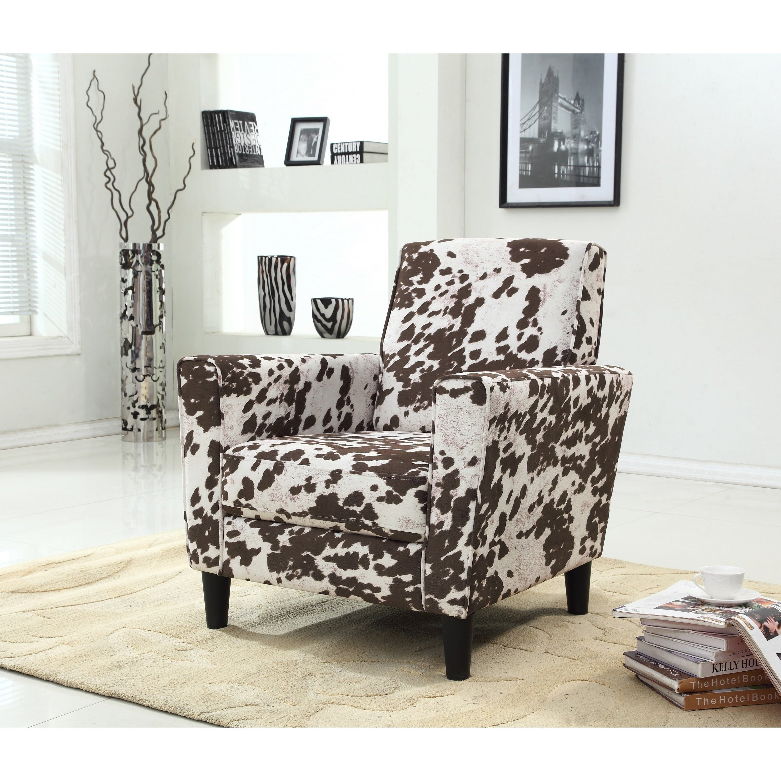 Picture of: Contemporary Cow Pattern Fabric Accent Chair Overstock 11807577