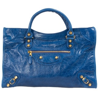 Balenciaga Giant 12 Gold City Medium Leather Bag in Bleu Lazuli