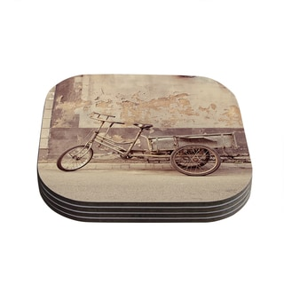 Kess InHouse Jillian Audrey 'The Gray Bicycle' Brown Photography Coasters (Set of 4)