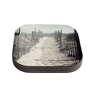 Kess InHouse Jillian Audrey 'Welcome to the Beach' Brown Gray Coasters (Set of 4)