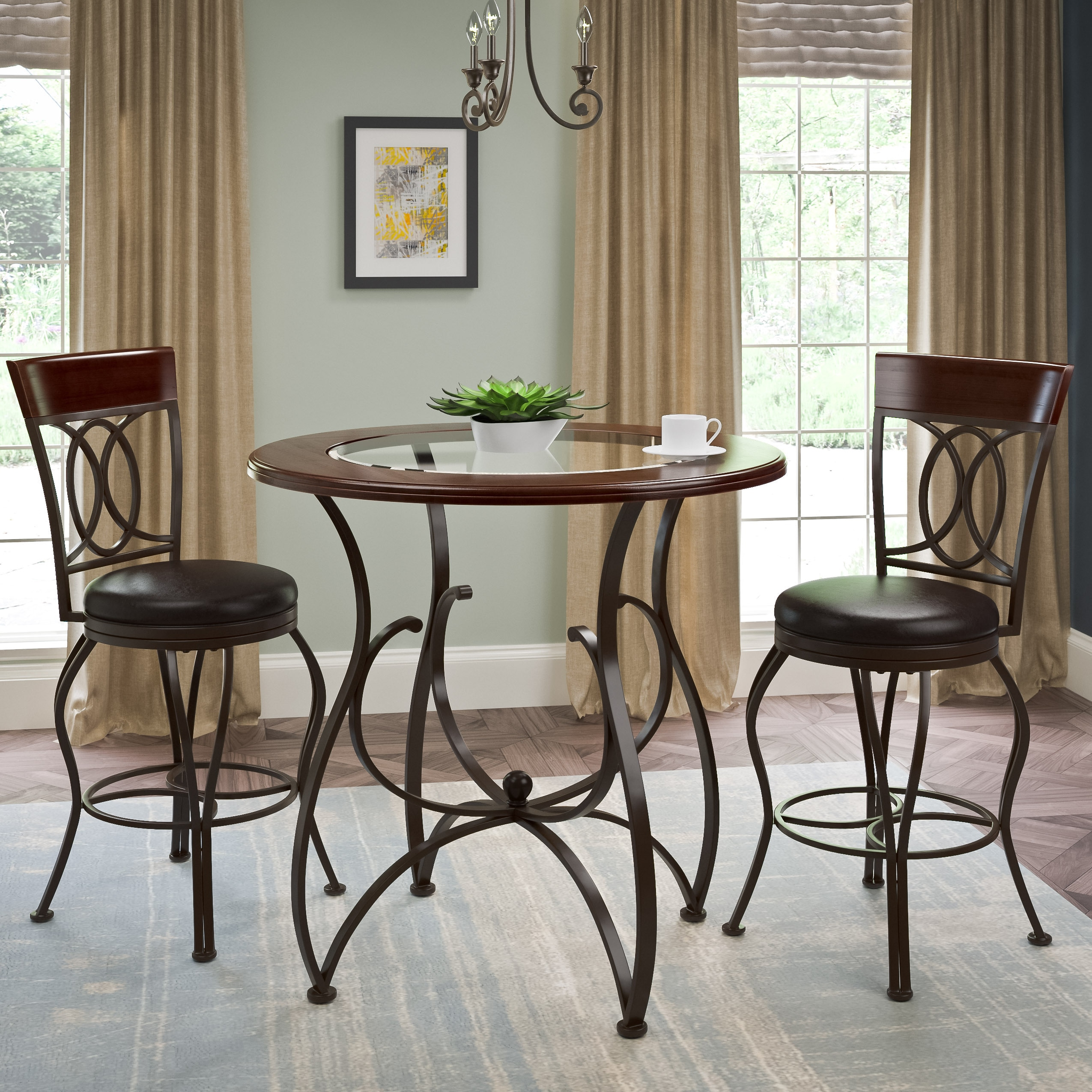 CorLiving 3pc Counter Height Matte Barstool and Bistro Ta...