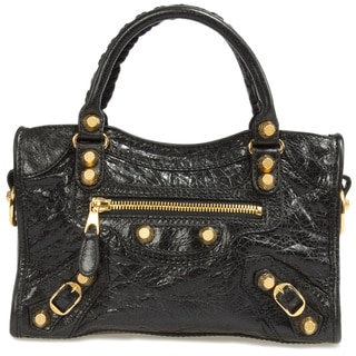 Balenciaga Giant 12 Gold Mini City Lambskin Bag in Black