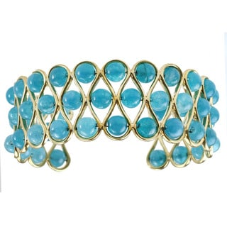 Michael Valitutti Aqua Blue Tourmaline Beaded Bangle Bracelet